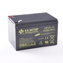 12V 12Ah Batteria, Batteria Piombo-Acido (AGM), B.B. Battery EP12-12, 151x98x94 (LxLAxA), Terminale T2 Faston 250 (6,3 mm)