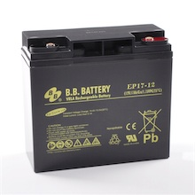12V 17Ah Batteria, Batteria Piombo-Acido (AGM), B.B. Battery EP17-12, 181x76x166 (LxLAxA), Terminale I1 (Inserisci femmina M5)