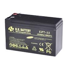 12V 7Ah Batteria, Batteria Piombo-Acido (AGM), B.B. Battery EP7-12, 151x65x93 (LxLAxA), Terminale T2 Faston 250 (6,3 mm)