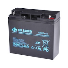 12V 22Ah Batteria, Batteria Piombo-Acido (AGM), B.B. Battery HR22-12, 181x76x166 (LxLAxA), Terminale B1 (vite M5)