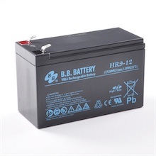 12V 9Ah Batteria, Batteria Piombo-Acido (AGM), B.B. Battery HR9-12, 151x65x94 (LxLAxA), Terminale T2 Faston 250 (6,3 mm)