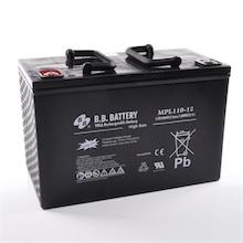 12V 110Ah Batteria, Batteria Piombo-Acido (AGM), B.B. Battery MPL110-12 H, 330x173x212 (LxLAxA), Terminale I2 (inserisci femmina M6)