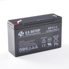 6V 12Ah Batteria, Batteria Piombo-Acido (AGM), B.B. Battery BP12-6, VdS, 151x50x94 mm (LxLAxA), Terminale T2 Faston 250 (6,3 mm)