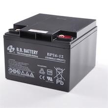 12V 26Ah Batteria, Batteria Piombo-Acido (AGM), B.B. Battery BP26-12, VdS, 175x166x123 (LxLAxA), Terminale I1 (Inserisci femmina M5)