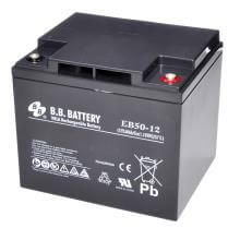 12V 50Ah Batteria, Batteria Piombo-Acido (AGM), B.B. Battery EB50-12, 197x165x171 (LxLAxA), Terminale I2 (inserisci femmina M6)