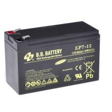 12V 7Ah Batteria, Batteria Piombo-Acido (AGM), B.B. Battery EP7-12, 151x65x93 (LxLAxA), Terminale T2 Faston 250 (6,3 mm)